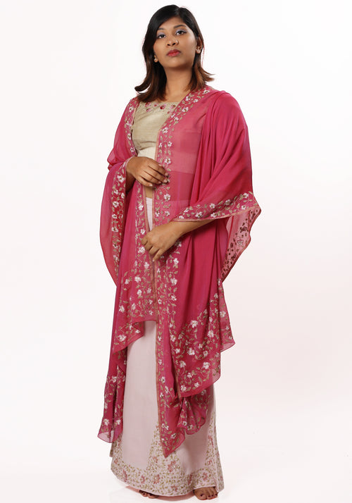 Hand Embroidered Stole in Sangria Silk Georgette