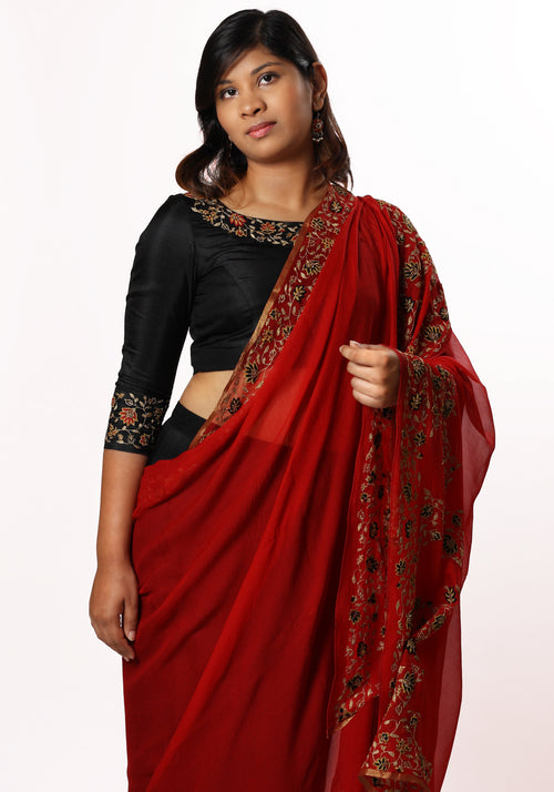 Hand Embroidered Stole in Red Silk Georgette