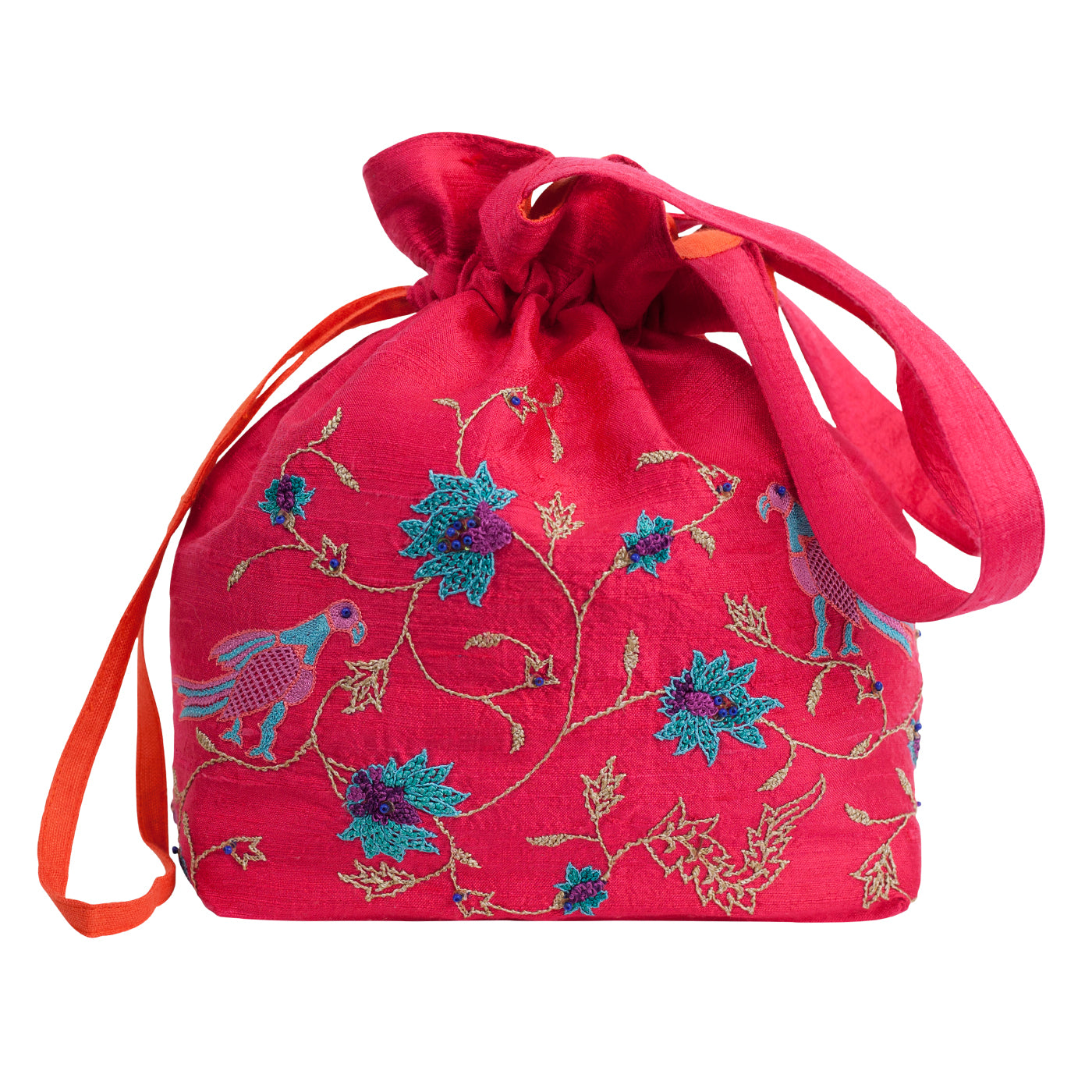 Embroidered Silk Potli Bag in Fuchsia Silk - MINC ecofashion