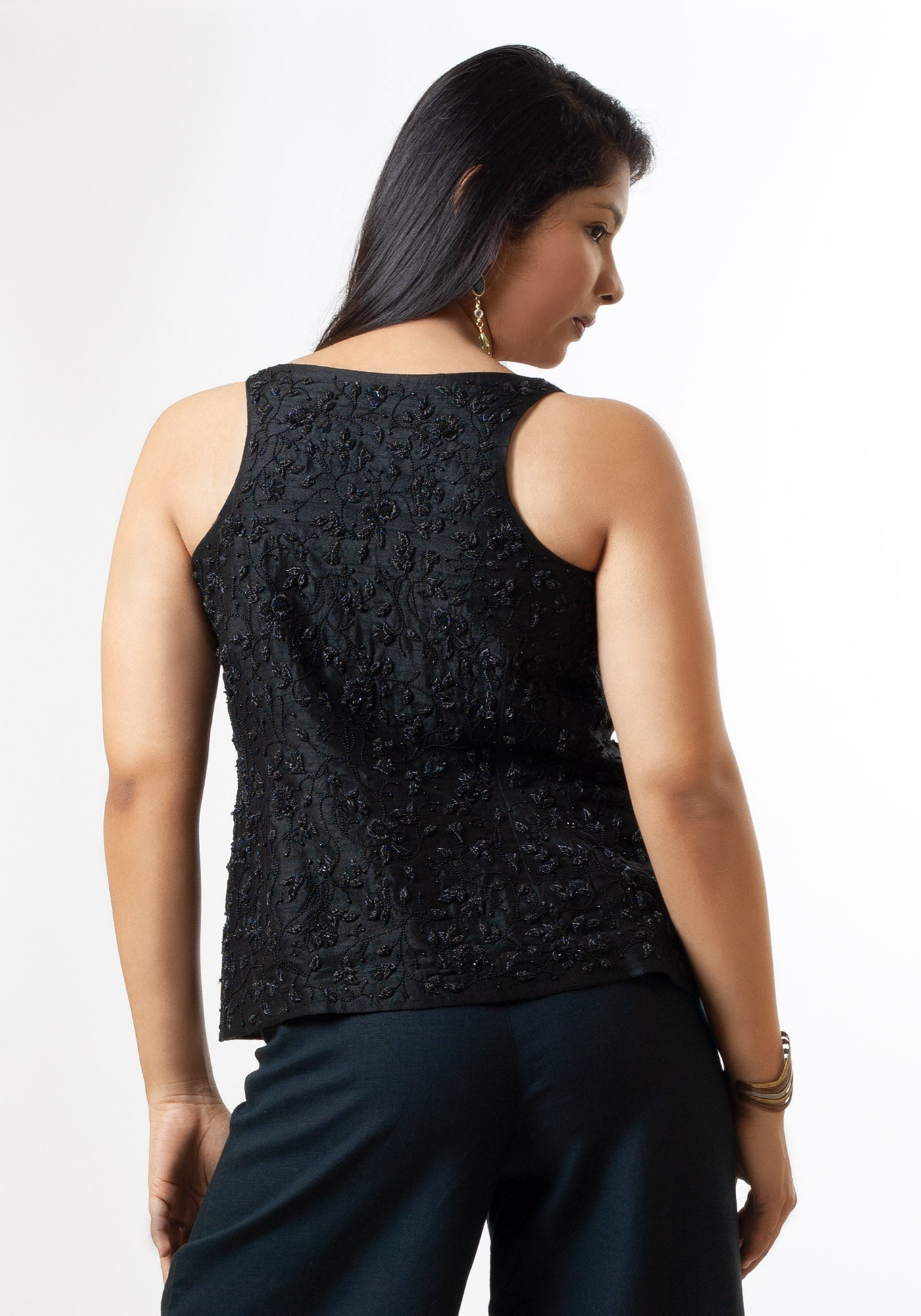 Sleeveless Hand Embroidered Black Beaded Top in Black Silk - MINC ecofashion