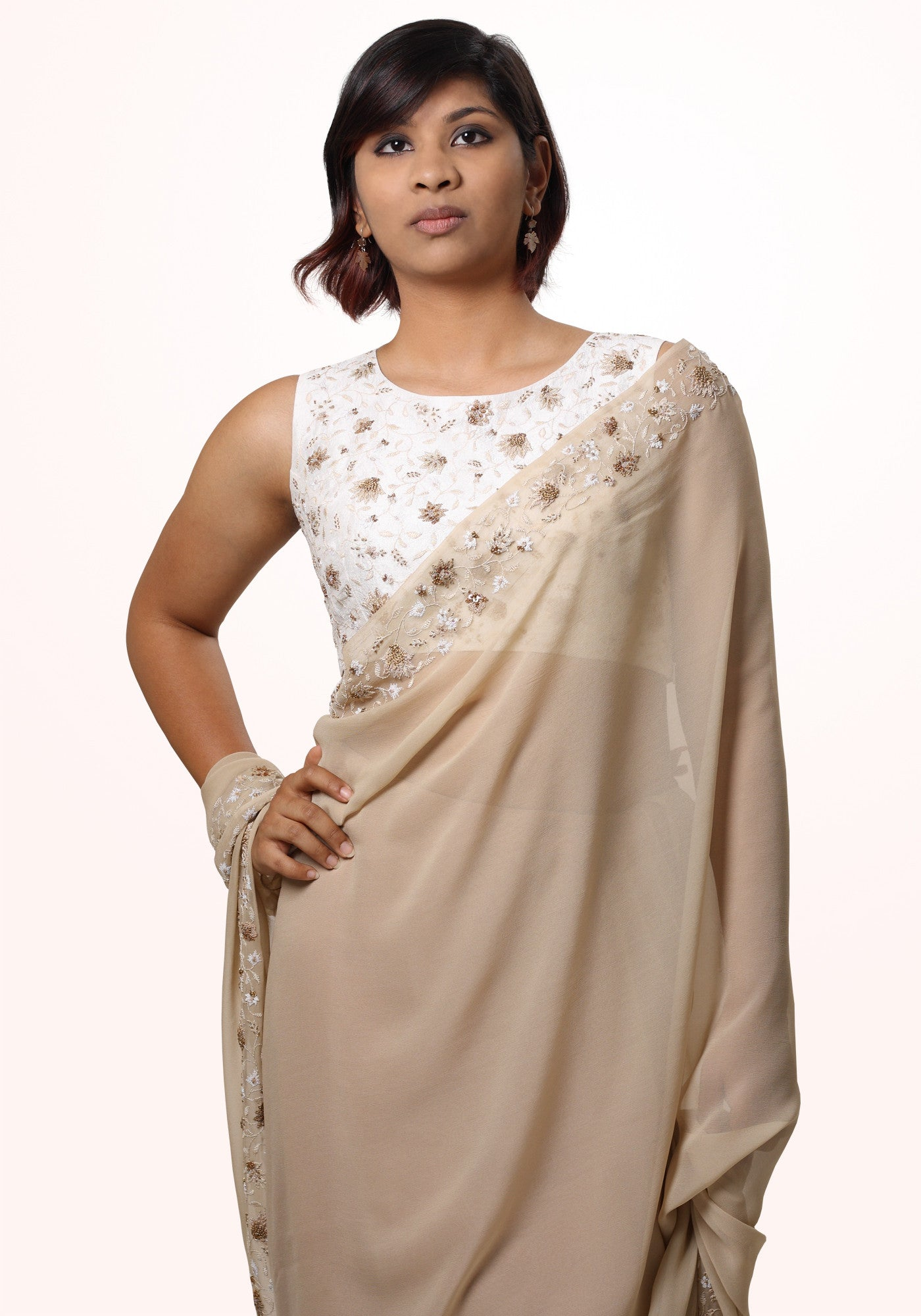 Padmini Hand Crafted Blouse in Ivory Silk - MINC ecofashion