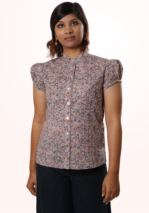 Floral Shirt In Dusky Rose Printed Cotton