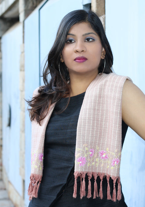 Hand Embroidered Scarf in Ahimsa Silk