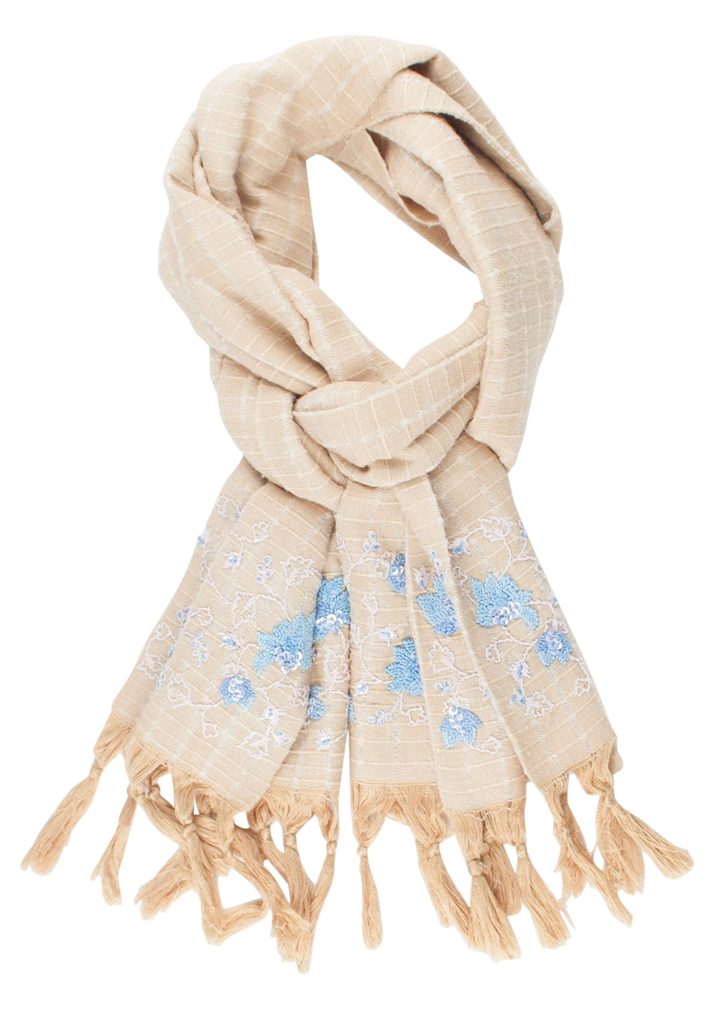 Hand Embroidered Scarf in Ahimsa Silk - MINC ecofashion