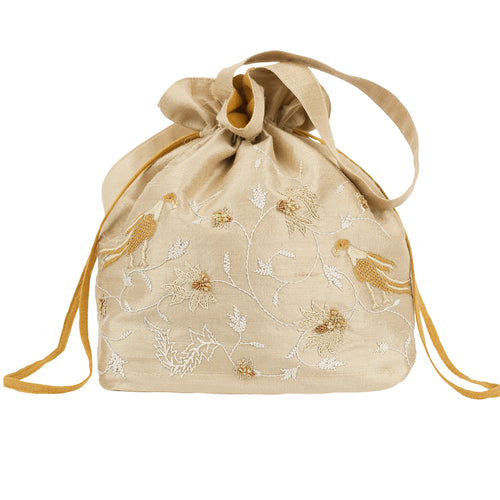 Embroidered Silk Potli Bag in Beige Silk