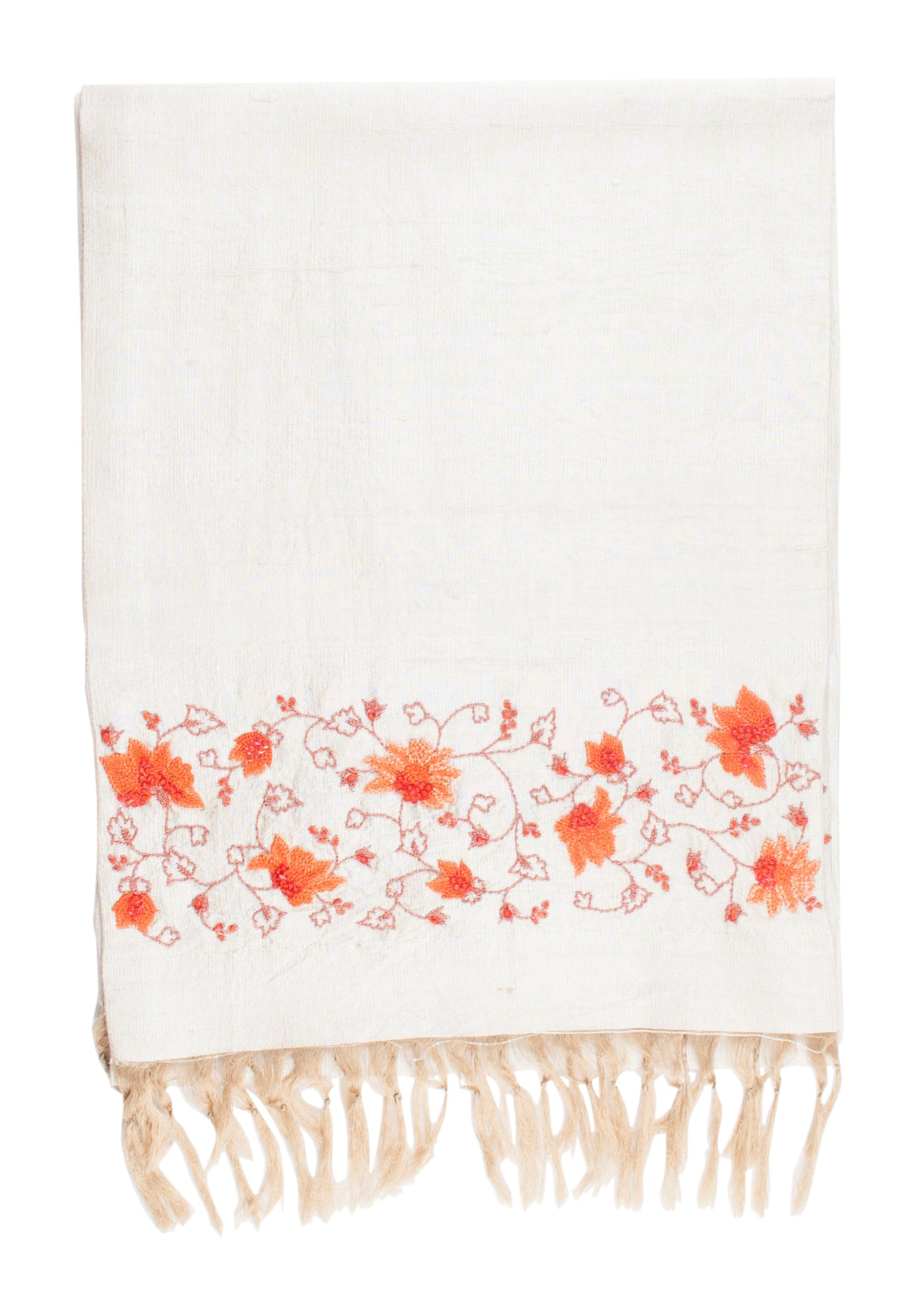 Hand Embroidered Scarf in Beige Silk - MINC ecofashion
