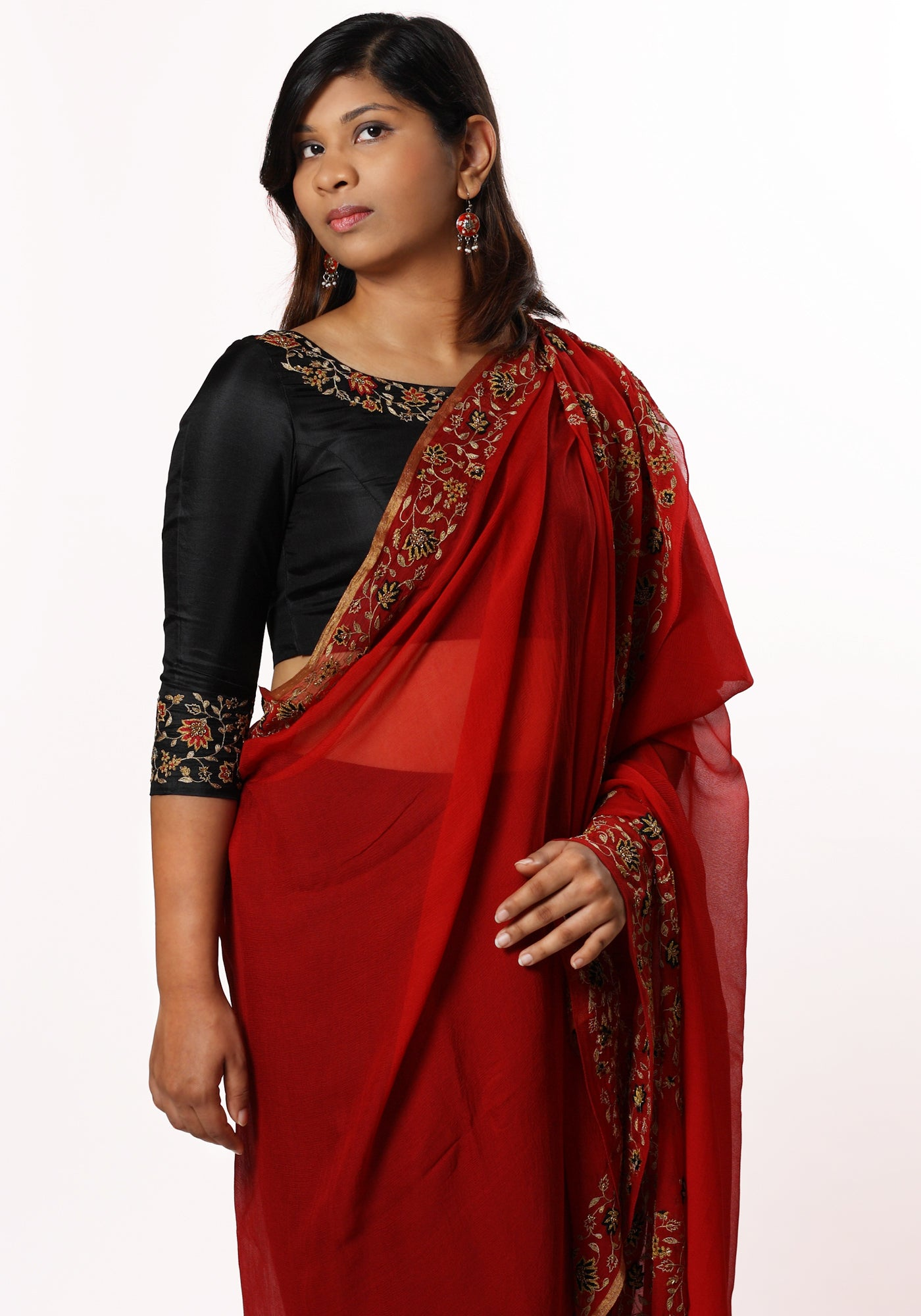 Hand Embroidered Stole in Red Silk Georgette - MINC ecofashion