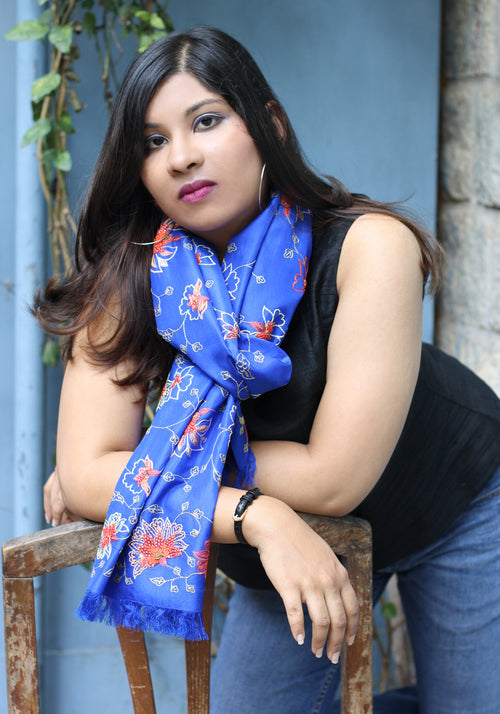 Hand Embroidered Scarf in Blue Silk