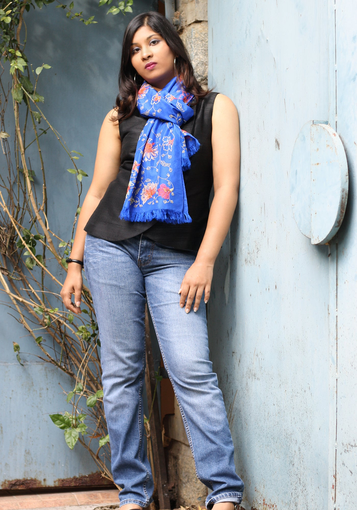 Hand Embroidered Scarf in Blue Silk - MINC ecofashion