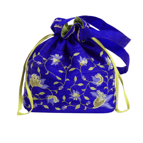 Embroidered Silk Potli Bag in Blue Silk