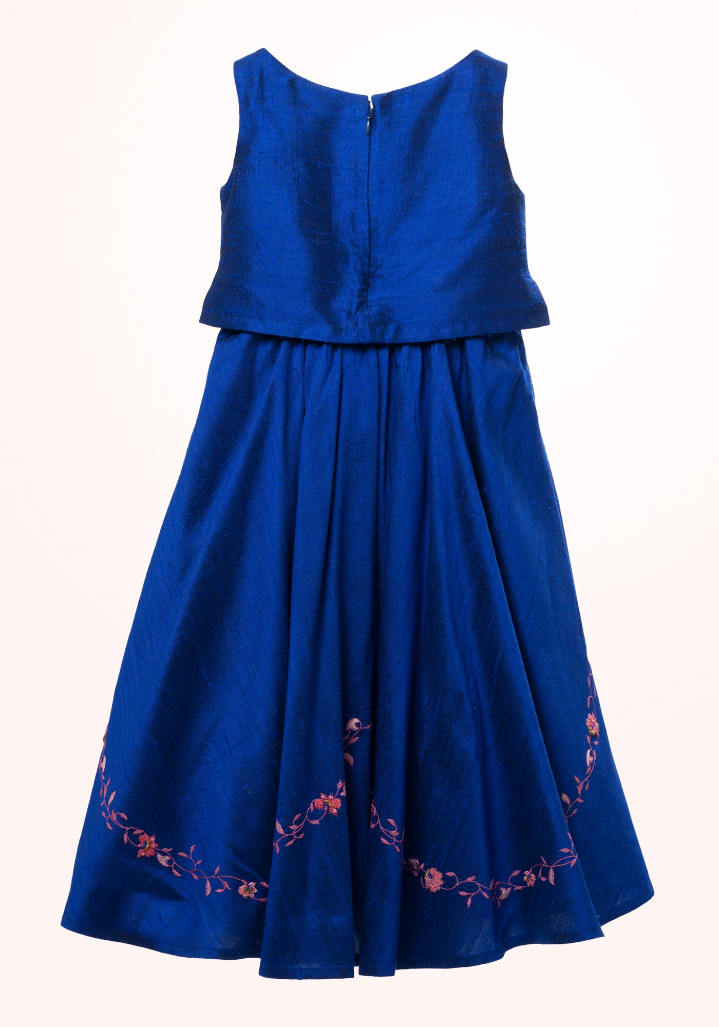 Royal Blue Girls Gown in Embroidered Silk - MINC ecofashion