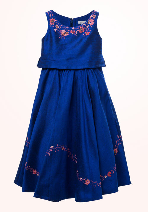 Royal Blue Girls Gown in Embroidered Silk