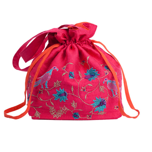 Embroidered Silk Potli Bag in Fuchsia Silk