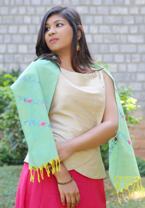 Hand Embroidered Scarf in Green Khadi