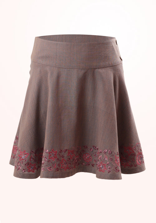 Wild Spring Girls Skirt in Embroidered Cotton Khadi