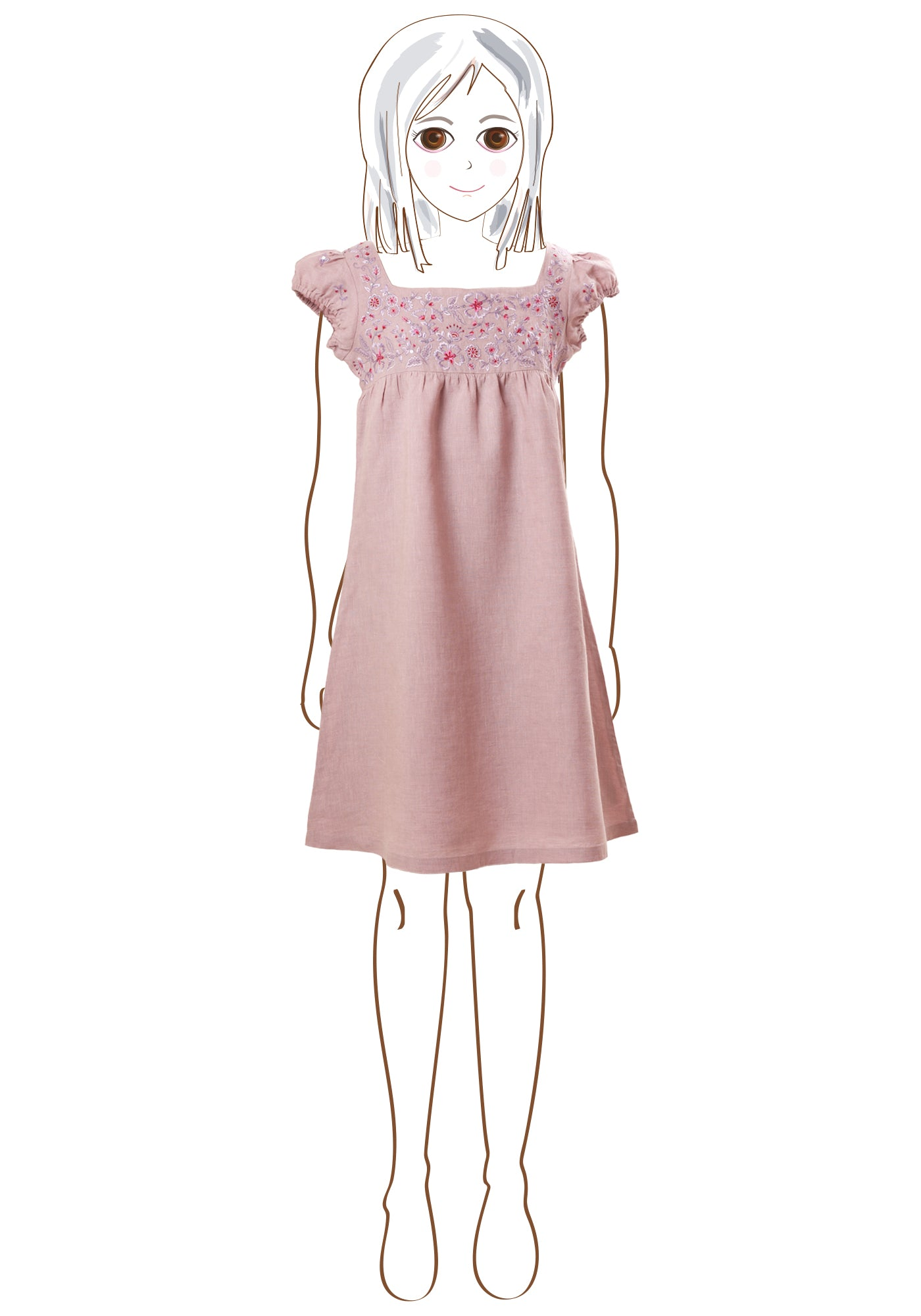 Lavender Summer Girls Short Dress in Lilac Linen - MINC ecofashion