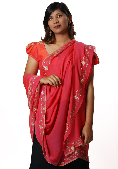 Hand Embroidered Stole in Pink Silk Georgette