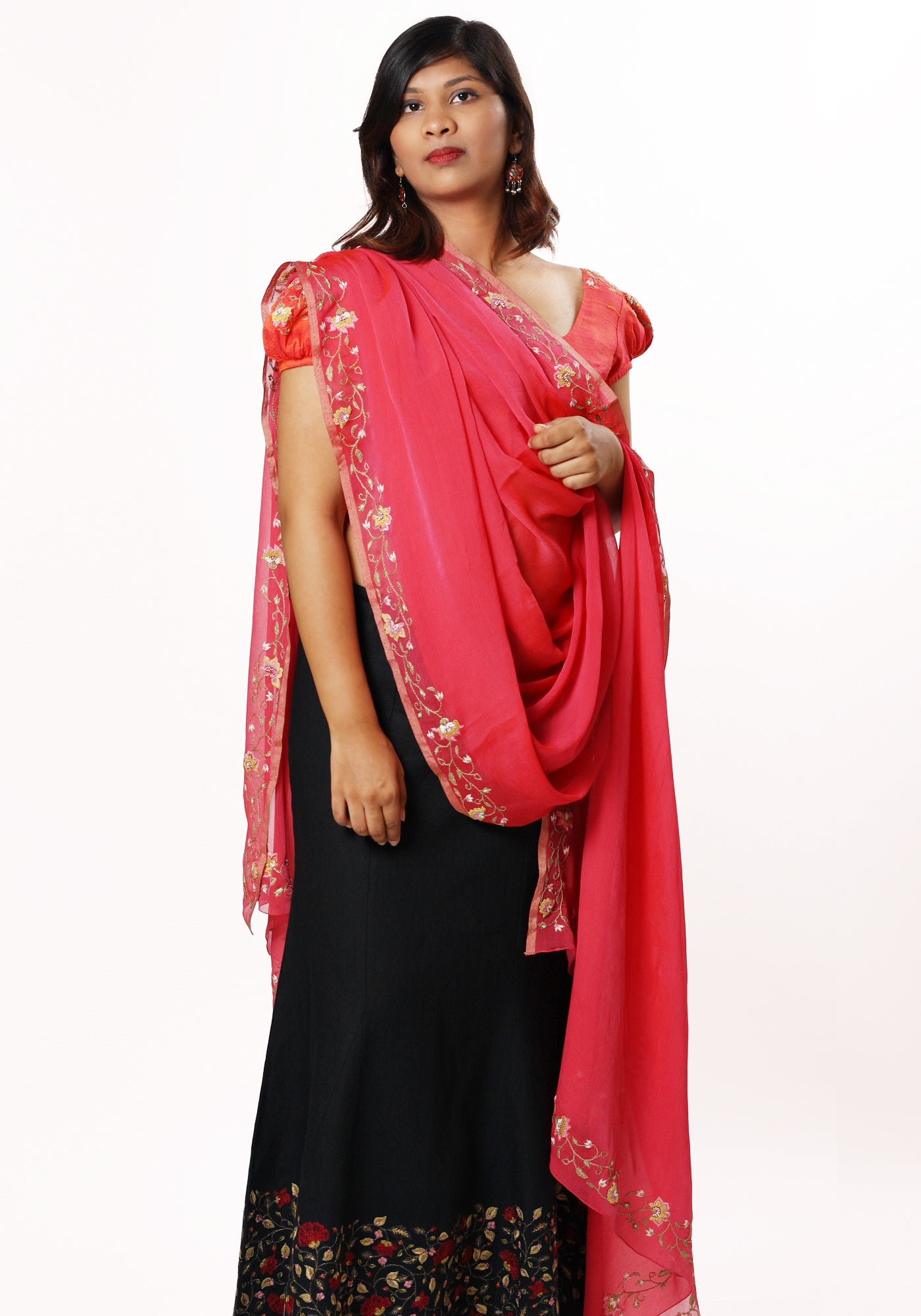 Hand Embroidered Stole in Pink Silk Georgette - MINC ecofashion