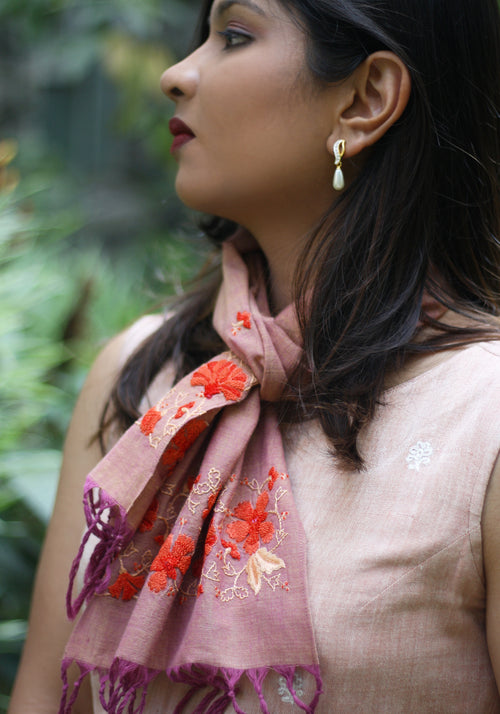 Hand Embroidered Scarf in Orange Khadi