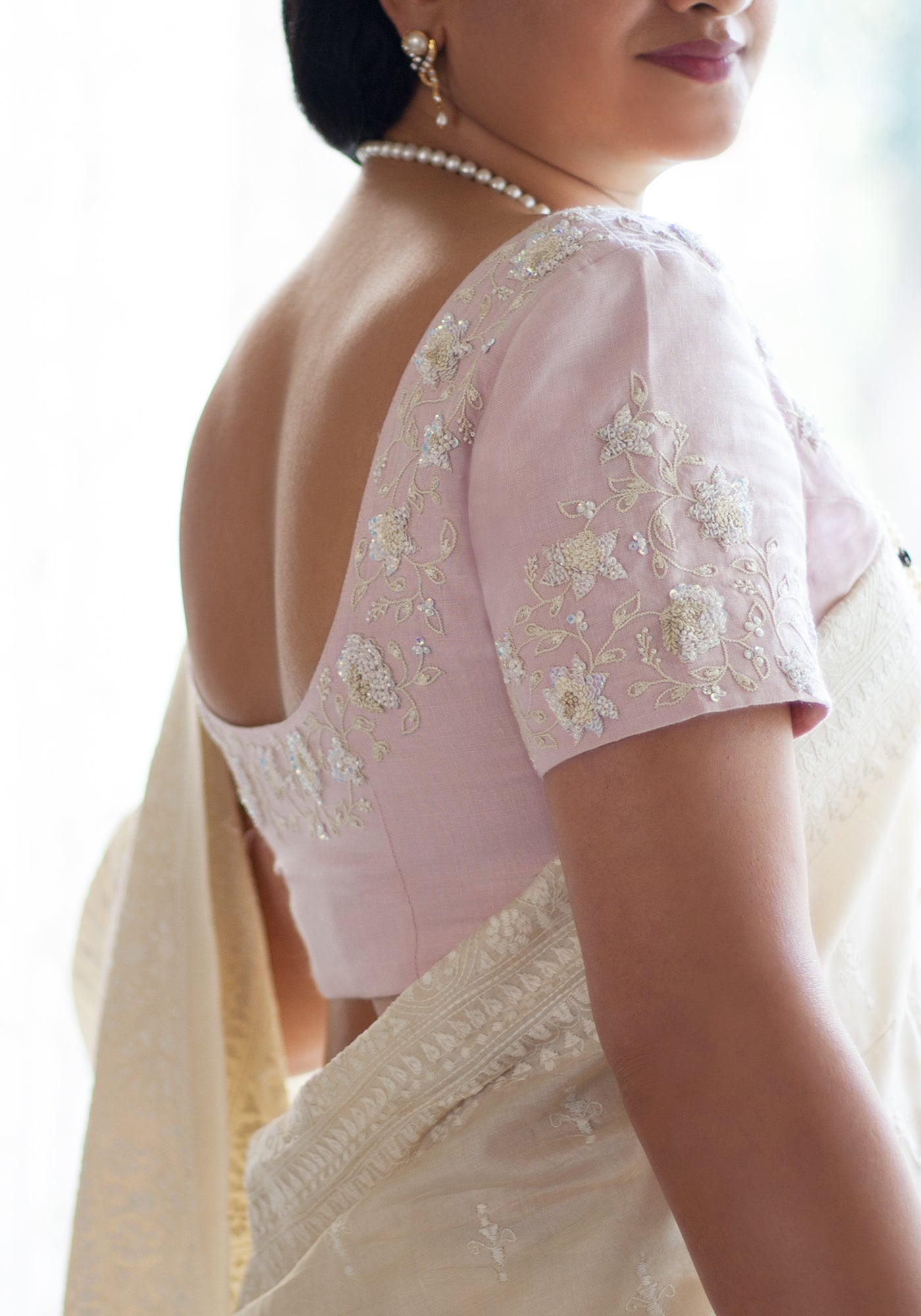 Hand Embroidered Blouse in Lotus Pink linen - MINC ecofashion