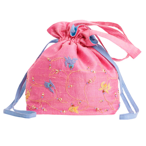 Embroidered Silk Potli Bag in Pink Silk