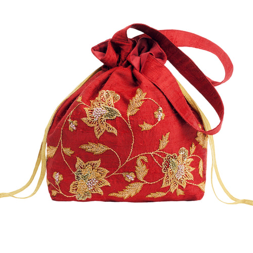 Embroidered Silk Potli Bag in Red Silk