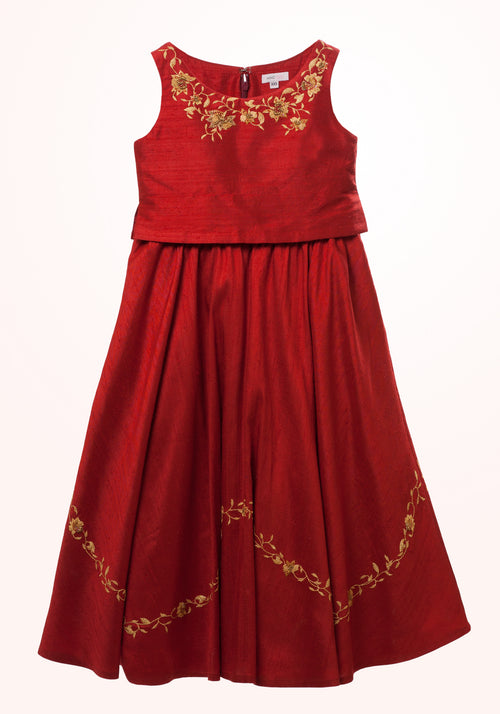 Maroon Red Girls Gown in Embroidered Silk