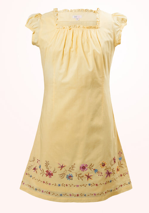 Aurora Girls Short Dress in Yellow Cotton