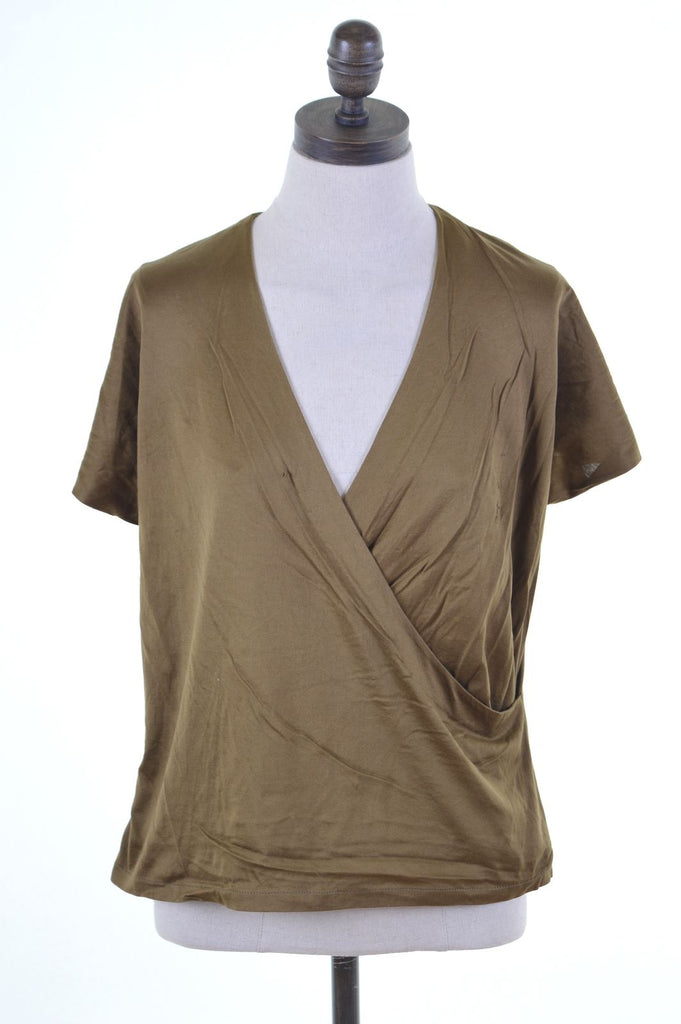 LUISA SPAGNOLI Womens Top Blouse IT 44 Medium Khaki Cotton Loose Fit - Second Hand & Vintage Designer Clothing - Messina Hembry