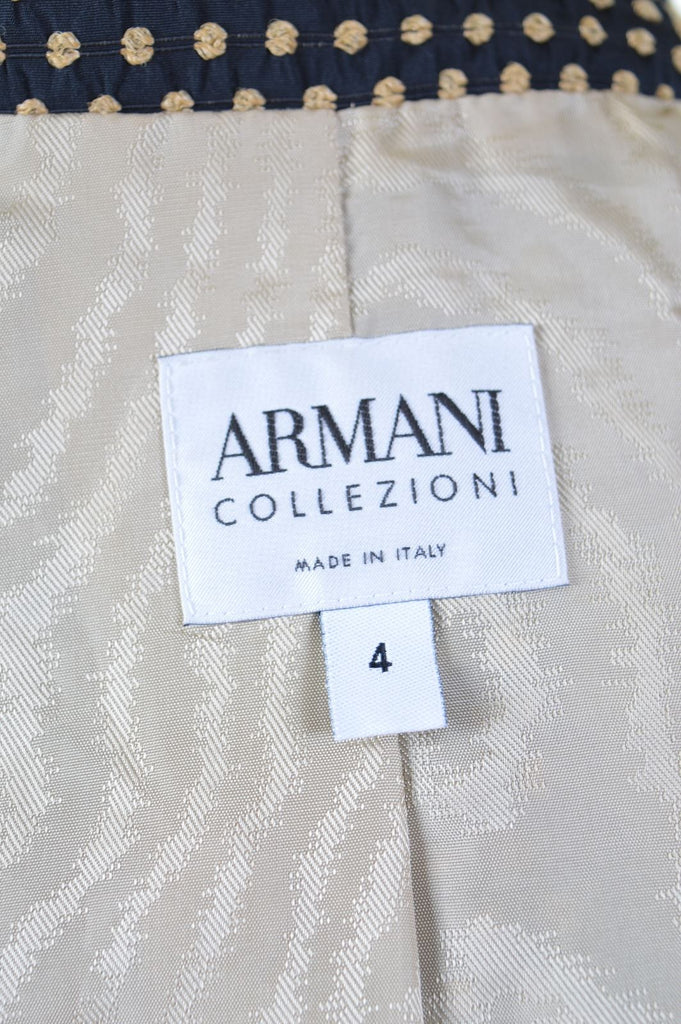 ARMANI Womens Blazer Jacket IT 40 Small Black Gold Polyester - Second Hand & Vintage Designer Clothing - Messina Hembry