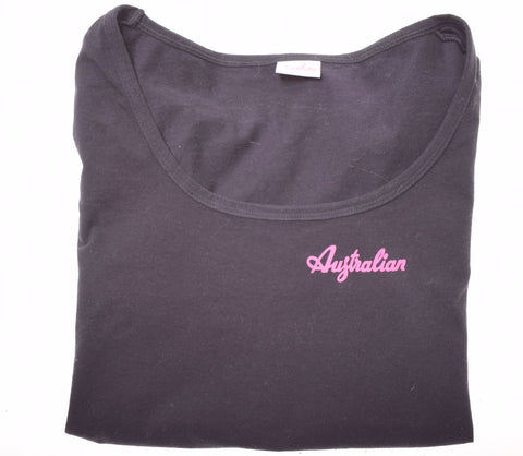AUSTRALIAN L'ALPINA Girls T-Shirt Top 2-3 Years Black Cotton