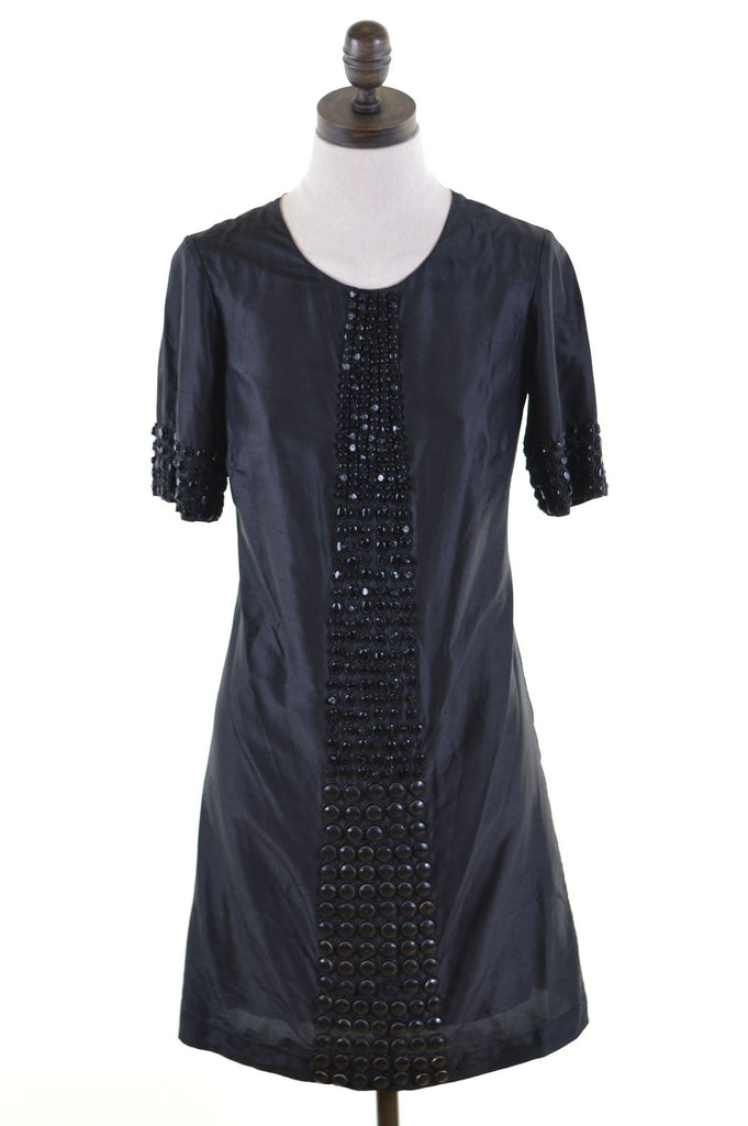 REISS Womens A-Line Dress UK 6 XS Black Silk - Second Hand & Vintage Designer Clothing - Messina Hembry