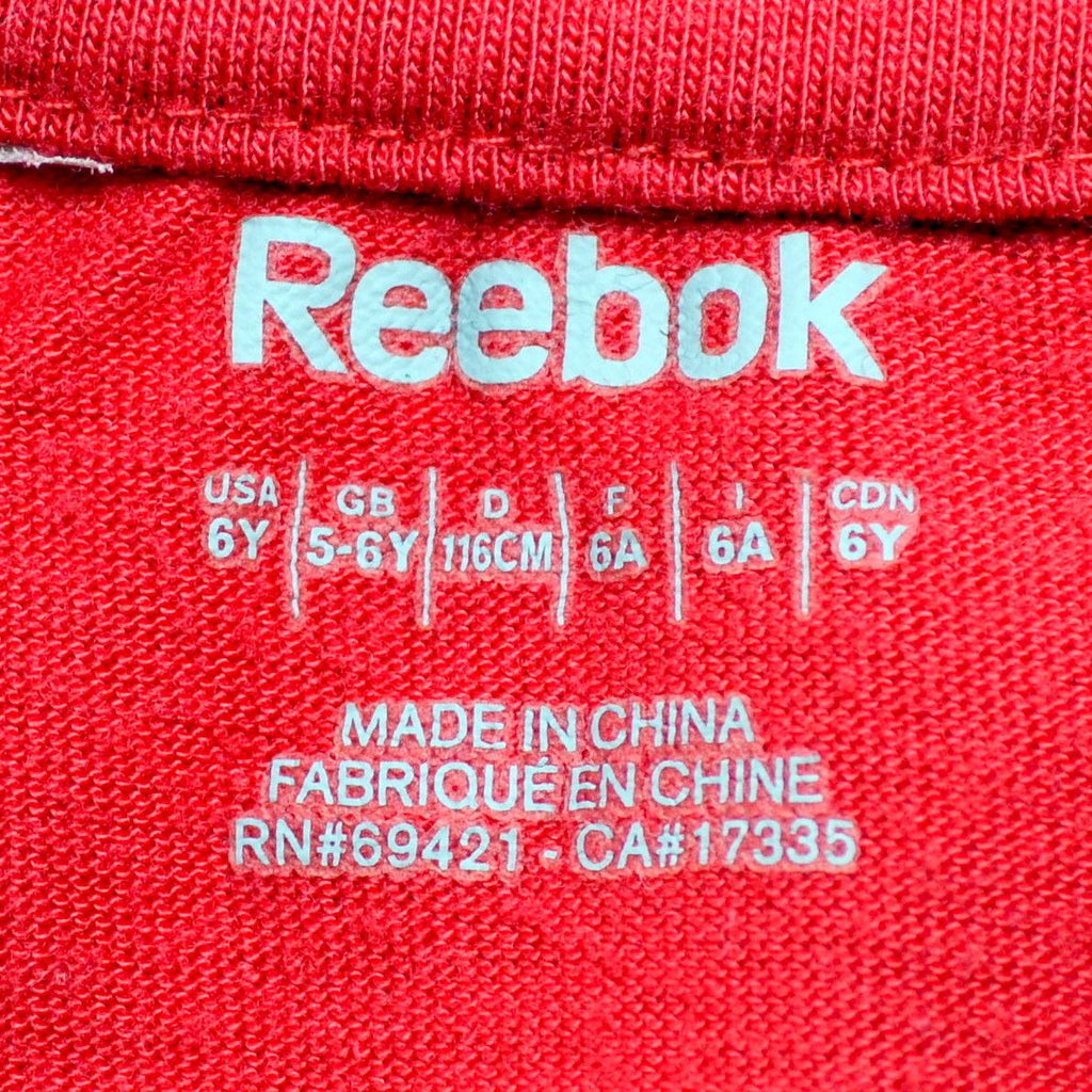 REEBOK Boys Graphic T-Shirt Top 5-6 Years Red - Second Hand & Vintage Designer Clothing - Messina Hembry