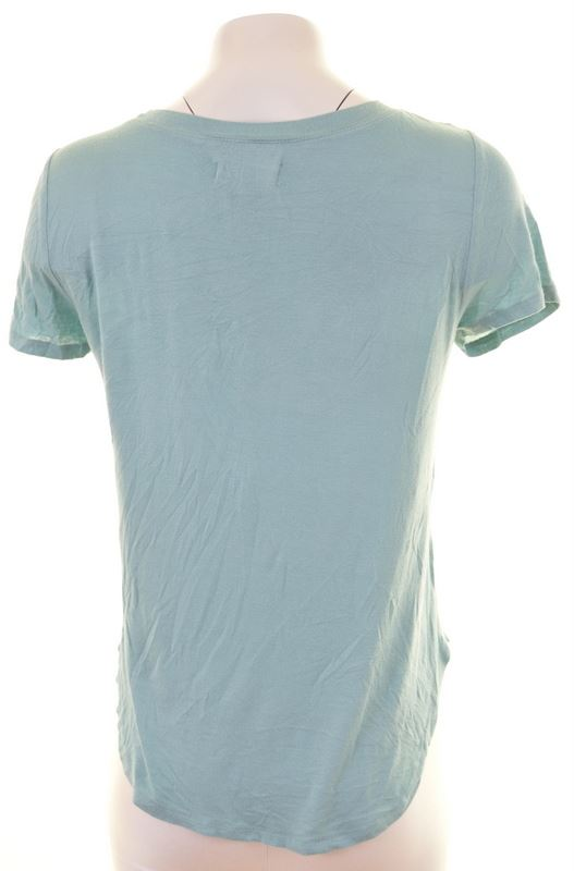 HOLLISTER Womens T-Shirt Top Size 6 XS Turquoise Viscose - Second Hand & Vintage Designer Clothing - Messina Hembry