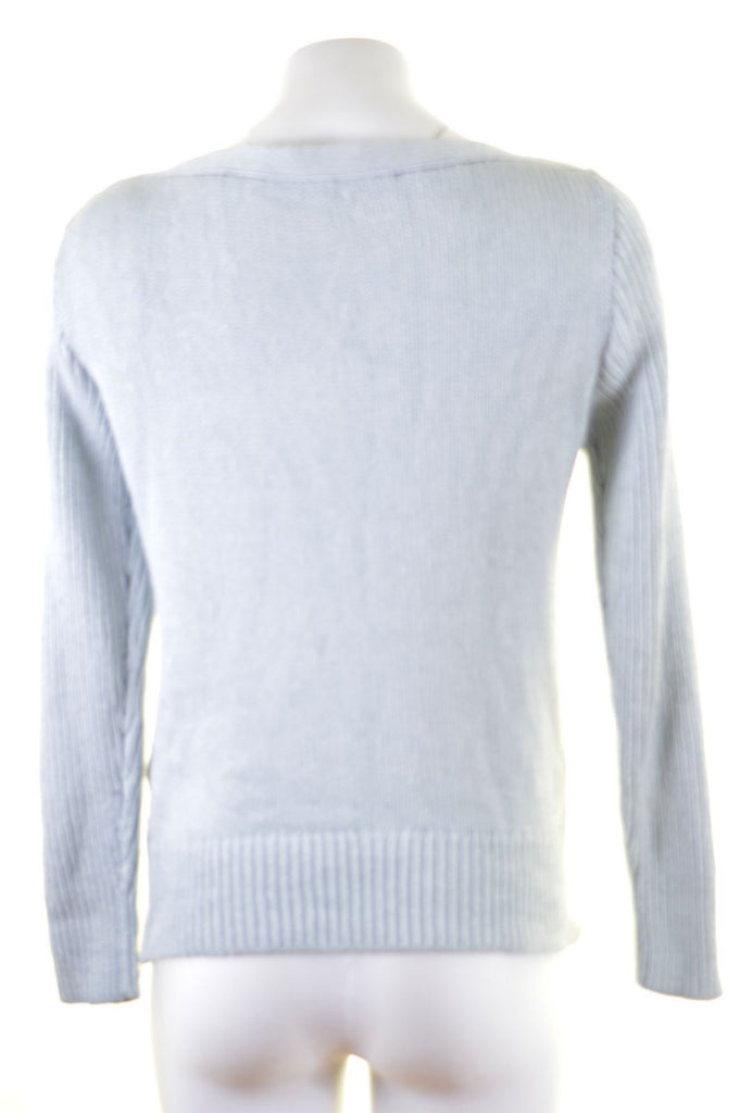 CALVIN KLEIN Womens Jumper Sweater Size 14 Medium Blue Acrylic - Second Hand & Vintage Designer Clothing - Messina Hembry