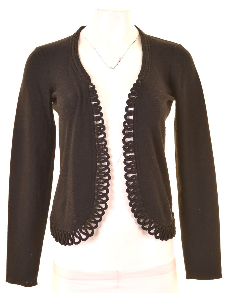 ARMANI Womens Cardigan Sweater IT 42 Medium Black Cotton - Second Hand & Vintage Designer Clothing - Messina Hembry