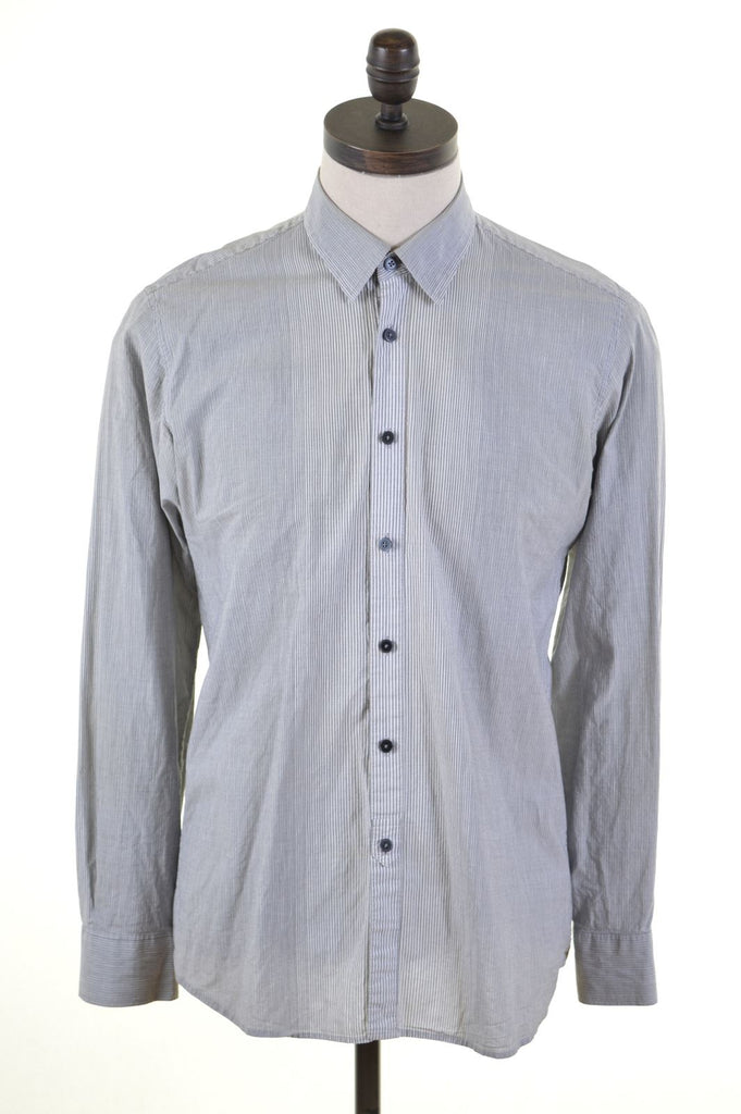 DKNY Mens Shirt Medium Grey Striped - Second Hand & Vintage Designer Clothing - Messina Hembry