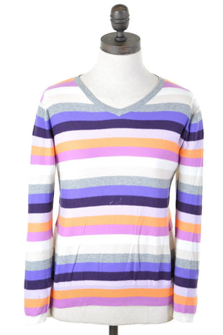 SCOTCH & SODA Womens V-Neck Jumper Sweater Size 10 Small Multi Stripes Cotton
