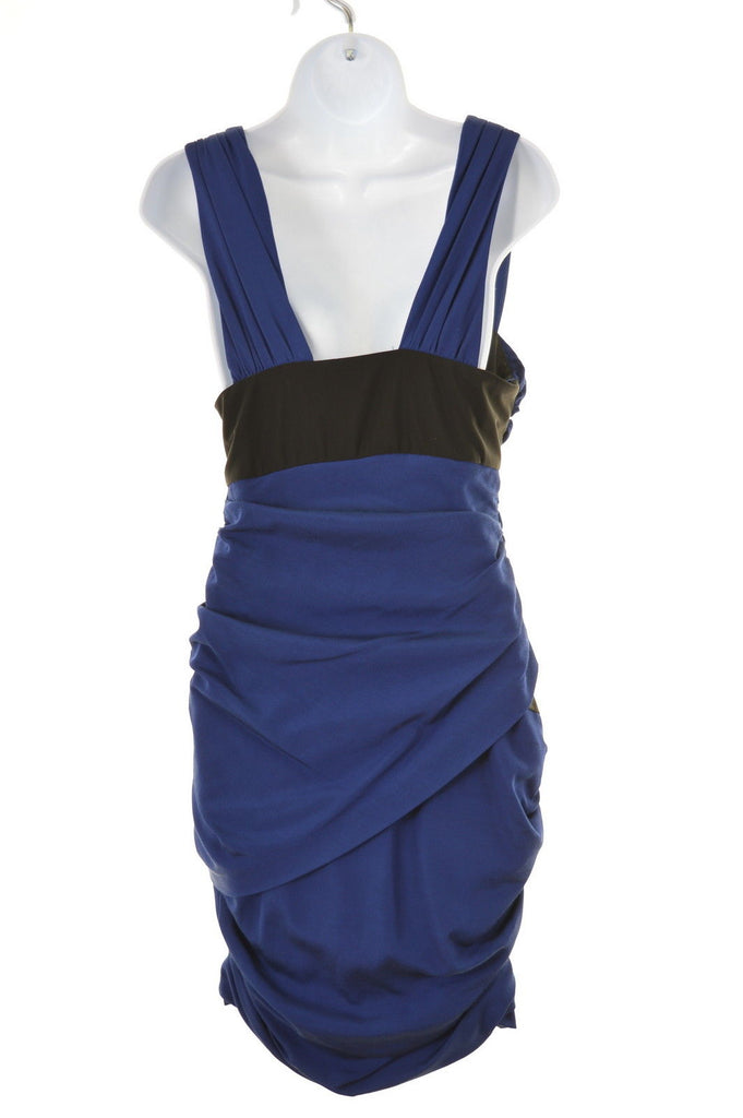 REISS Womens Front Plunge Dress Size 6 XS Blue Viscose - Second Hand & Vintage Designer Clothing - Messina Hembry