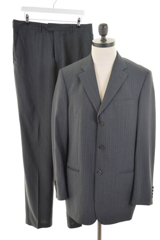 TED BAKER Mens 3 Button Two Piece Suit Size 40 Medium W34 L36 Dark Grey Stripe