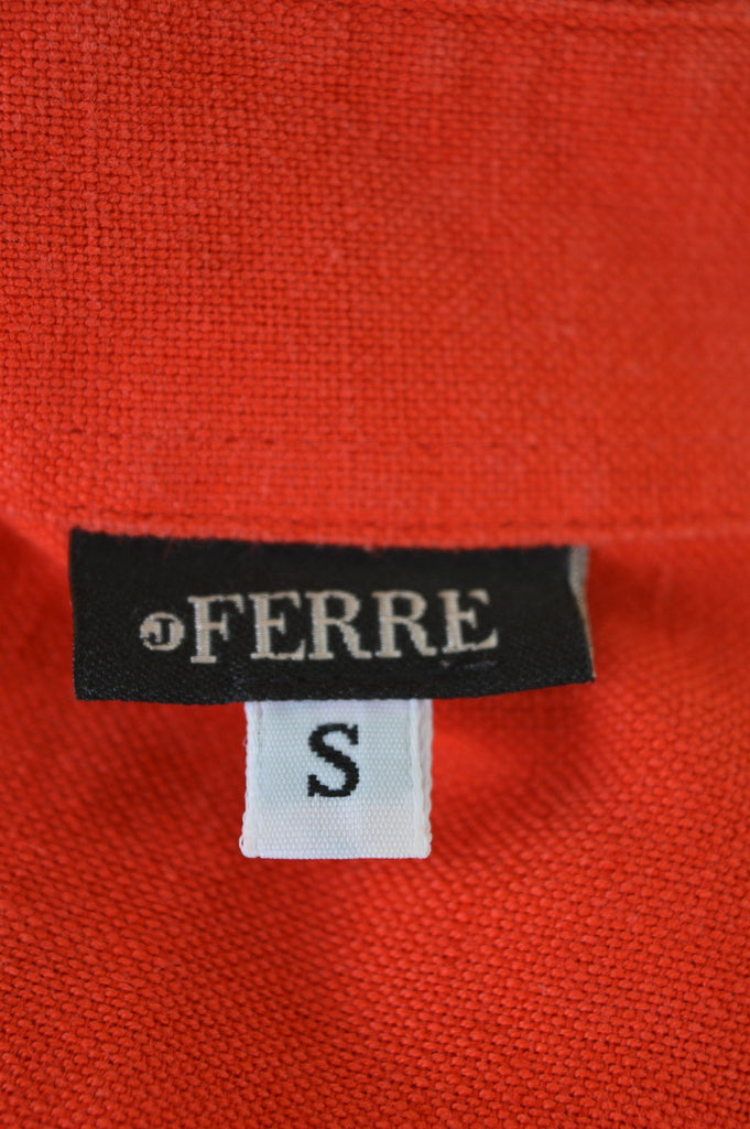 FERRE Womens Shirt Size 10 Small Red Cotton Linen - Second Hand & Vintage Designer Clothing - Messina Hembry