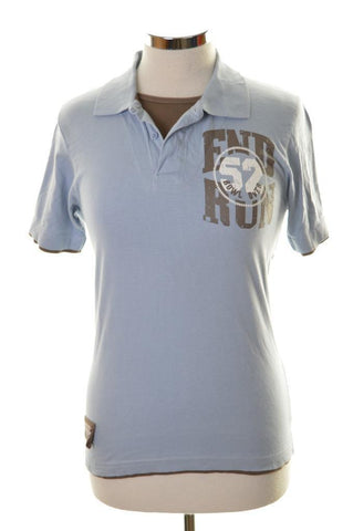 Here+There by C&A Womens Polo Shirt Small Blue Cotton