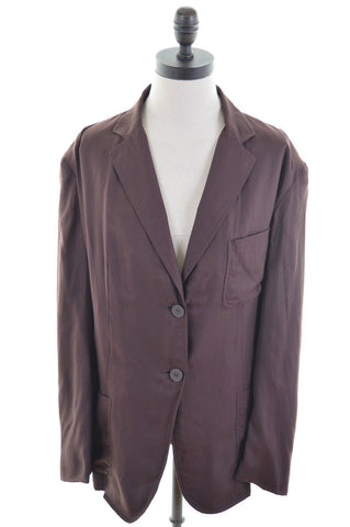 DKNY Womens 2 Button Blazer Jacket Size 20 XXL Brown Cotton