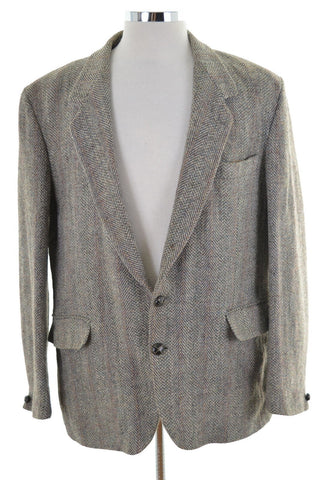 Harris Tweed Mens Blazer Jacket Size 40 Medium Grey Wool