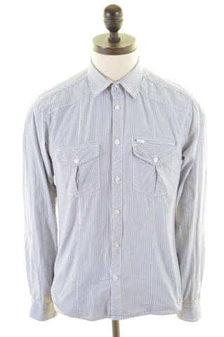 JACK & JONES Mens Shirt Medium White Blue Candy Stripes Cotton