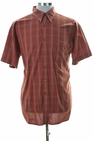 Pierre Cardin Mens Shirt XL Brown Check Cotton