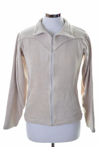 Sergio Tacchini Womens Fleece Jacket Large Beige Polyester Elastane