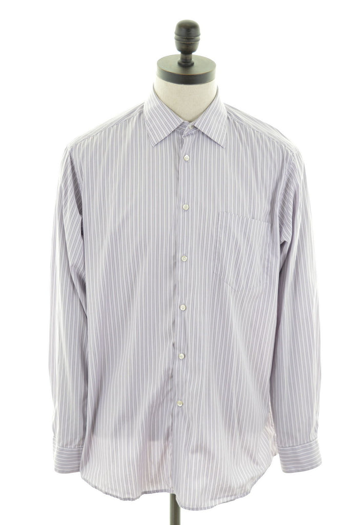 HUGO BOSS Mens Shirt Large Purple Pencil Stripe Cotton - Second Hand & Vintage Designer Clothing - Messina Hembry