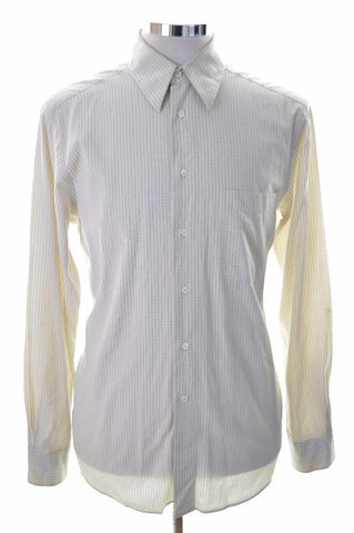 Hugo Boss Mens Shirt Size 15 3/4 40 Medium Beige Check Cotton