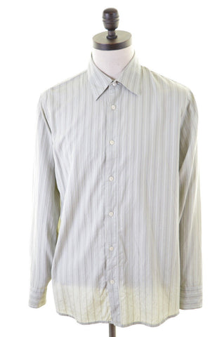 CALVIN KLEIN Mens Shirt Large Multi Pinstripe Cotton